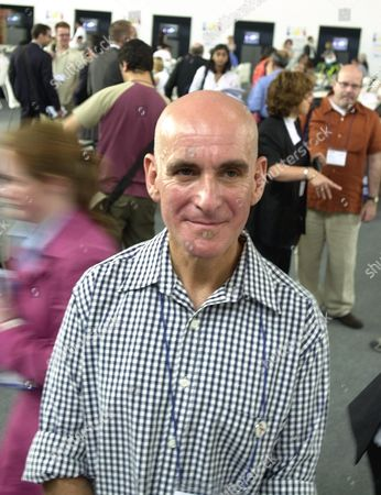 Stock Picture of James Locke of England, an HIV Positive patient, is photographed at the press center in Barcelona for the XIV International AIDS Conference . Locke started to take a new trial AIDS drug called T-20 in April 2001 and says it has saved his life