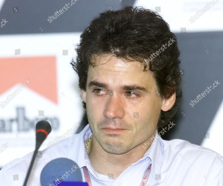 MOTORCYCLE GRAND PRIX Alex Criville of Spain cries during at press conference where he announced his retirement from the World Motorcycle Championship at the Jerez racetrack in southern Spain, . Criville was hoping to make a comeback after an injury but he confirmed his retirement