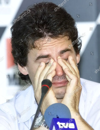 MOTORCYCLE GRAND PRIX Former World motorcycle champion Alex Criville cries during a press conference where he announced his official retirement at the at the Jerez racetrack in southern Spain, for the Spanish motorcycle grand prix which takes place Sunday. Criville was hoping to make a comeback after an injury but confirmed his retirement
