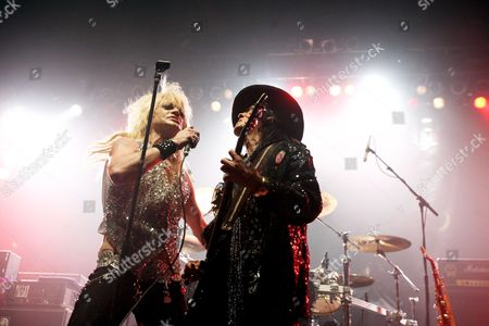 Stock Image of Singer Michael Monroe (left) and guitarist Andy McCoy