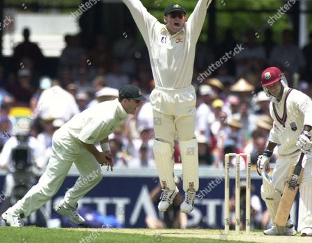 GILCREST WAUGH CAMPBELL West Indies batsman Sherwin Campbell on right is caught by Mark Waugh on left as wicket keeper Adam Gilcrest in centre jumps during the first day of the Australia vs. West Indies Test at the Gabba Oval in Brisbane, Australia