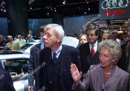 MUELLER ROTH Frankfurt Mayor Petra Roth, right, shows the Audi stand to German Economy minister Werner Mueller as they tour the fair after the official opening of the International Motor Show IAA in Frankfurt, Germany, . More than 1,200 exhibitors of 44 countries display their products until September 26, 1999
