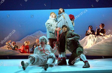 Miltos Yerolemou as Snowy, Matthew Parish as Tintin Stephen Finegold as Captain Haddock and Dai Tabuchi as Tharkey