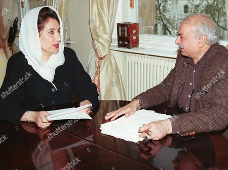 """BHUTTO HASAN Pakistan's former Prime Minister Benazir Bhutto is seen with former High Commissioner for Pakistan Wajid Shamsul Hasan in London . Bhutto labeled her conviction on graft charges """"a gross miscarriage of justice."""" A Pakistani court on Thursday sentenced Bhutto to five years in jail, fined $8.6 million and banned from politics"""