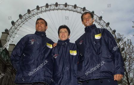 Three past winners of past London Marathons, line up in front of the London Eye, Antonio Pinto, left, Rosa Mota, centre both of Portugal, and Abel Anton, from Marocco at a photocall . The Marathon celebrates its 21st birthday with the running of the race on Sunday, April 22, in which Pinto will participate