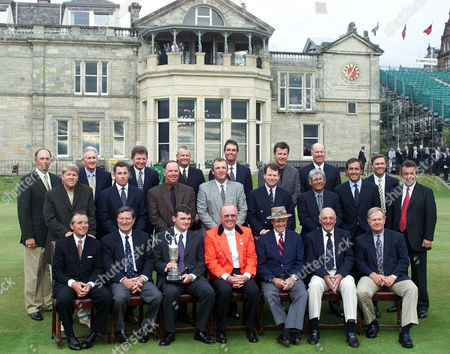 Stock Image of Former British Open champions during a photocall in front of the clubhouse on the Old Course at St. Andrews in Scotland . Back row from left: Tom Lehman, Bob Charles, Nick Price, Sandy Lyle, Ian Baker-Finch, Nick Faldo, Tom Weiskopf. Middle row from left: John Daly, Justin Leonard, Mark O'Meara, Mark Calcavechia, Tom Watson, Lee Trevino, Seve Ballesteros, Bill Rogers, Tony Jacklin. Front row from left: Gary Player, Peter Thomson, Paul Lawrie, Sir Michael Bonallack the Captain of The R&A, Sam Snead, Roberto de Vicenzo and Jack Nicklaus