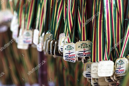 Medals lined up waiting to be presented to the 30,000 runners expected to complete the London Marathon 2000, . The race was won by Antonio Pinto from Portugal beating the European and London course records in 2 hours, 6 minutes and 36 seconds