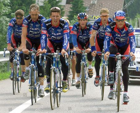 Overall leader Lance Armstrong of the U.S., third from right, and other riders of the U.S. Postal Service team train on an open road near Le Grand-Bornand in the French Alps . Tour de France cyclists arrived earlier Monday from Metz to prepare for Tuesday's 9th stage of the cycling race between Le Grand-Bornand and Sestrieres in the Italian Alps. From left are Frankie Andreu of the U.S., Peter Meinert-Nielsen of Denmark, Pascal Derame of France, Armstrong, Christian Vandevelde of the U.S. and Kevin Livingston of the U.S
