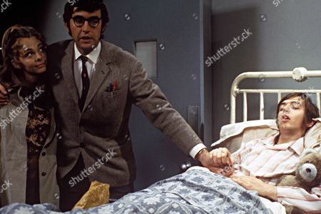 'Please Sir' - Penny Hedges [Jill Kerman] and as Bernard Hedges [John Alderton]  with student [David Barry] in hospital - 1971