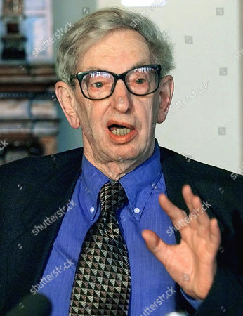 ERIC HOBSBAWM British Eric J. Hobsbawm speaks during a news conference at the Leipzig book fair in the eastern German city of Leipzig . The British historian was honoured with the Leipzig book award for European communication