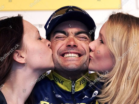 """Stock Photo of WUEST German Marcel Wuest of the French Festina Team receives the traditional kiss at the victory ceremony after winning the sixth stage of the """"Deutschland Tour"""", Cycling Tour of Germany, in Herzogenaurach on"""