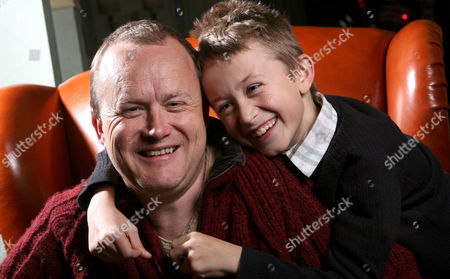 Stock Image of Mike Tomlinson Husband of Fundraiser Jane Tomlinson Who Died This Year of Cancer with His Son Steven