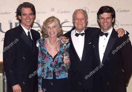 KENNEDY SHRIVER American Eunice Kennedy Shriver, founder of the Special Olympic movement, her husband R. Sargent Shriver, second from right, and sons Robert, left, and Tim, pose with her Sport for Good Award during the Laureus Sports Awards ceremony in Monaco, . This first annual ceremony celebrates sporting excellence across all disciplines and continents. Eunice Shriver's foundation has two objectives: to seek the prevention of the mental retardation by identifying it's causes, and to improve the means by which society deals with citizens with mental retardation