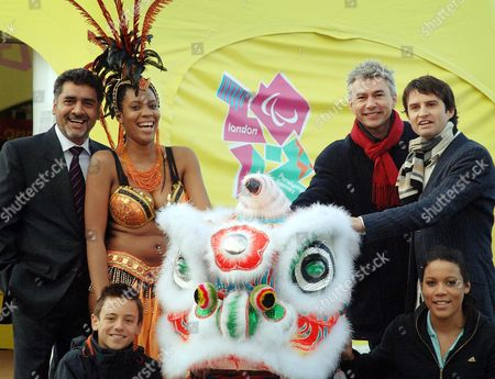 Iqbal Wahhab, Simone Griffiths, a Notting hill dancer, Thomas Daley, Jonathan Edwards, Giles Long and Shanaze Reade, 19 year-old cycling champion