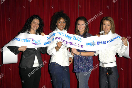The celebrity runners line up to promote the Great Manchester Run: Left to right, Jennifer James, Tupele Dorgu, Sarah Jane Dunn, and Julie Neville, wife of Phil Neville.