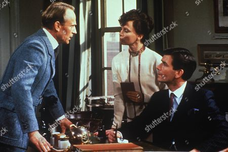 Stock Photo of 'Partners In Crime'  TV - 1983 - Season 1, Episode 9 The Case of the Missing Lady  Jonathan Newth as Gabriel Stavansson, Francesca Annis as Tuppence Beresford and James Warwick as Tommy Beresford