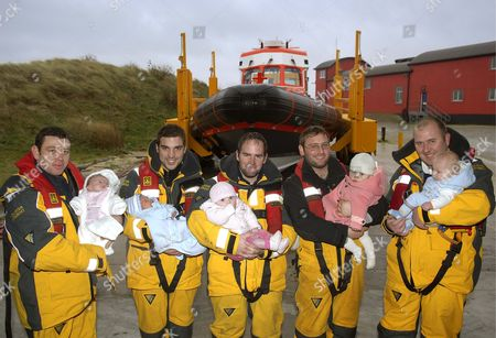L-R proud Dads with their babies are Steve Sheales and Casey, Thomas Williams and Charlie, Owen Nutt and Grace, Richard Thurlow and Niamh, Andrew Hewitt and Sidney.