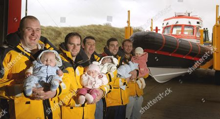 L-R with their babies are Andrew Hewitt and Sidney, Owen Nutt and Grace, Steve Sheales and Casey, Thomas Williams and Charlie, Richard Thurlow and Niamh.