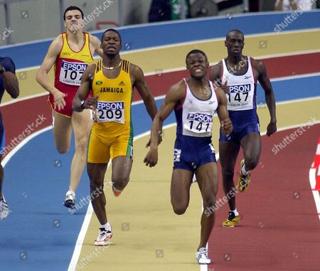CAINES Britain's Daniel Caines, 141, leads the field into the straight to win the gold medal in the Men's 400 meters at the World Indoor Athletics Championships in Lisbon, Portugal, . Britain's Mark Hylton, 147, finished 5th, and Jamaica's Danny McFarlane, 209, took the bronze medal
