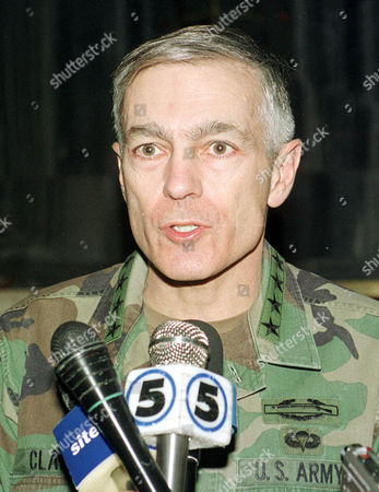 NATO Supreme Allied Commander Europe General Wesley K. Clark talks to the media in the Macedonian Parliament building in Skopje, Macedonia . General Clark is on a one day visit to Macedonia