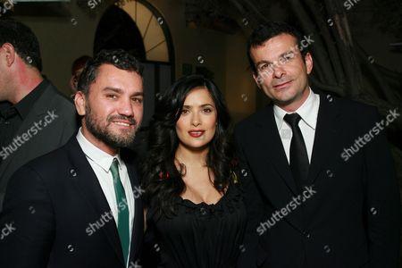 Edmundo Castillo, Salma Hayek and Sergio Rossi CEO Didier Bonnin