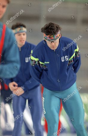 Dan Jansen Speedskater Dan Jansen from West Allis, Wis., loosens up during his workout session in morning on at Hamar Olympic Hall in Hamar, Norway. Jansen slipped in the final turn of the 500 meter race on Monday and finished eighth