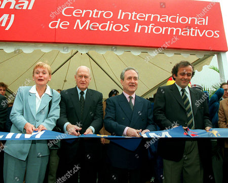PLATINI French Youth and Sports minister Marie-George Buffet, FIFA president Joao Havelange, Paris mayor Jean Tiberi and World Cup organisation committee co-chairman Michel Platini (left to right) cut the ribbon to inaugurate the International Media Center that will house reporters covering the soccer World Cup, in Paris. The soccer event starts on June 10