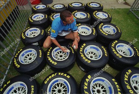 BAILEY Benetton mechanic Trevor Bailey at work on the team's tires in the pits in preparation for the Australian Grand Prix in Adelaide