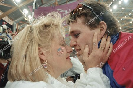 American speedskater Dan Jansen gets hugged and kissed by his wife, Robin, after setting a world record and winning the gold medal in the men's 1,000 meter event on at Hamar Olympic Hall in Hamar, Norway. Jansen's time was 1:12.43