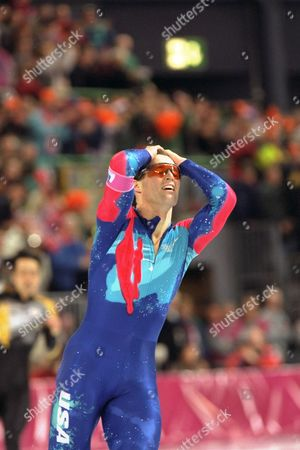Dan Jansen Dan Jansen reacts after finishing with a time of 1:12.43 for a new world record and a gold medal in the men's 1,000 meter race Friday morning, at Hamar Olympic Hall in Hamar, Norway