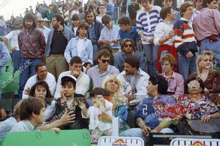 Diego Maradona, Claudia Villafane, Dalma Nerea, Janina Dinorah Argentina soccer superstar Diego Armando Maradona and his wife Claudia Villafane hold their daughters Dalma Nerea, Left and Janina Dinorah, while looking at a match at the Italian women tennis open championship in Rome