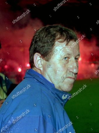 GUY ROUX May 1996 file of Auxerre team coach Guy Roux celebrating the victory of his team in the French soccer championships