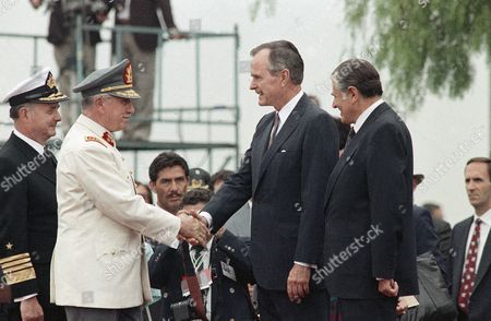 Editorial picture of George H W Bush and Augusto Pinochet 1990, Santiago, Chile