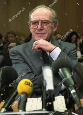 Dr. Heinz Eyrich former state ministry for inner affairs and justice, now minister at the European parliament, is questioned as first witness at Baden-Wuerttemberg's state parliament, by the investigation committee concerning the Lothar Spaeth affair, in Stuttgart, Germany