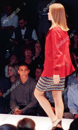RONALDO Brazilian striker of Inter Milan Ronaldo looks at his girlfriend Susana Werner on the catwalk during the Swish jeans Spring/Summer 1998 fashion show, presented in Milan