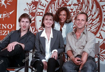 """BERLING From the left, actors Stanislas Merhar, Miou Miou, director Anne Fontaine and actor Charles Berling, during a press conference present French competition film """"Nettoyage a' Sec"""", at the 54th Venice film Festival"""
