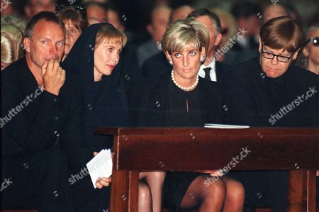 JOHN British performer Sting, left, his wife Trudy Styler, Princess Diana, second from right and Elton John, right, attend the memorial Mass for Gianni Versace, inside Milan's gothic cathedral