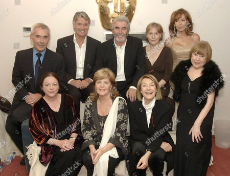 'Happy Birthday Bafta' TV - 2007 - Cast of 'Upstairs Downstairs' reunited after 37 years. L-R back row. Christopher Beeny, Simon Williams, John Alderton, Meg Wynn Owen and Lesley Anne Down. front row. Jacqueline Tong, Pauline Collins, Jean Marsh and Jenny Tomasin.