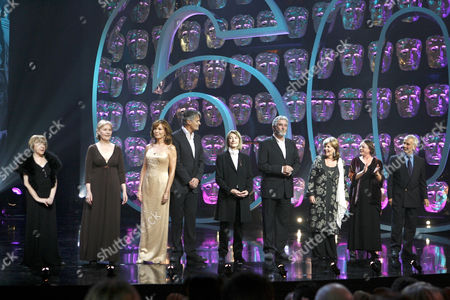 'Happy Birthday Bafta' TV - 2007 - Cast of 'Upstairs Downstairs' reunited after 37 years. (L-R) Jenny Tomasin, Meg Wynn Owen, Lesley Anne Down, Simon Williams, Jean Matsh, John Alderton, Pauline Collins, Jacqueline Tong and Christopher Beeny.