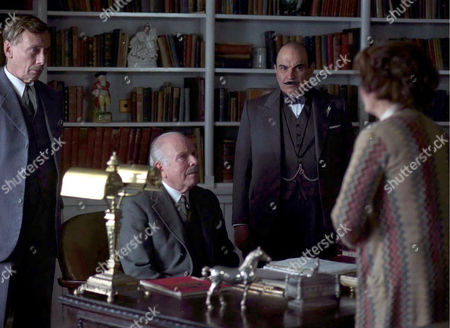 'Poirot' The Hollow  TV - 2004 - Tom Georgeson (Insp Grange), Edward Hardwicke (Sir Henry Angkatell) and David Suchet (Hercule Poirot).