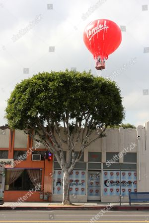'Vandal balloon on the roof of the Carmichael Gallery