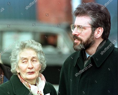 Sinn Fein President Gerry Adams talks to Shelia McCann, mother of Daniel McCann, one of three IRA members who was shot dead in Gibraltar by soldiers of the British Special Air Service Regiment in 1998, before a 10th Anniversary speech delivered by Adams in Belfast's Milltown Cemetery, . The deaths of Daniel McCann, Mairead Farrell and Sean Savage caused a controversy over whether the British Army had operated a shoot-to-kill policy