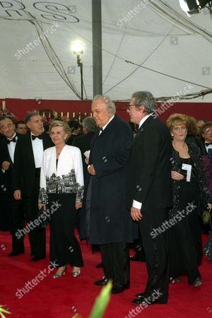 Stock Image of FELLINI Our files shows Giulietta Masina, Federico Fellini, Marcello Mastroianni