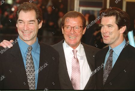 "Stock Picture of Timothy Dalton left, Roger Moore and Pierce Brosnan, three of the actors who have portrayed the English secret agent James Bond in the Bond movies line up at a central London cinema to celebrate the life of Albert R. ""Cubby"" Broccoli . The American film producer Broccoli was responsible for the seventeen Bond movies from 'Dr. No' to the recent 'Goldeneye"