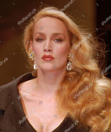 """JERRY HALL Hall's long legs and blond hair have landed her a role as Betty Grable, despite the fact that the role is for the radio. Hall will play the role of the """"million-dollar legs""""1940's actress and model on a British Broadcasting Corp. radio biography to be broadcast in September"""