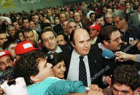 Stock Image of AZEVEDO Joao Vale e Azevedo, center, among club members after winning the Lisbon's Benfica soccer team elections for president at Luz stadium early . Azevedo is the Benfica club's 31st President in 93 years. He won with 51.52 per cent of the votes cast by some 50,000 eligible members