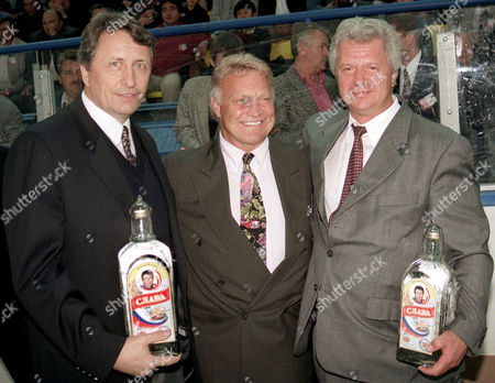 BOBBY HULL Alexander Yakushev, legendary Russian hockey player, left, Bobby Hull, the Canadian hockey legend, and Mikhail Shmakov, President of Russia's Independent Trade Union, right, pose at the opening of the Spartak Cup in Moscow, . Former NHL star Bobby Hull reportedly told a Russian Newspaper that Nazis were not without merit, that the black population of the United States was growing too fast, and that genetic breeding was a worthy idea