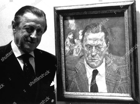 THYSSEN-BORNEMISZA Swiss industrialist Baron Hans Heinrich Thyssen-Bornemisza stands beside a portrait painted by Lucien Freud in his Foundations Museum in Madrid, Spain, . It took years of negotiations, $90 million and the urging of a former beauty queen but the largest private art collection was finally moved to Spain