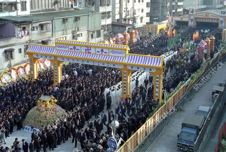 GANG FUNERAL Some 10,000 people attend the funeral in Taipei, of Chen Jung-ho and Lin Lei-chia, leading members of Taiwan's Sihai gang who were shot death in a restaurant last month