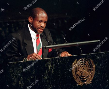 DOUGLAS The Prime Minister of St. Kitts and Nevis, Denzil Douglas, addresses the 53rd session of the General Assembly at United Nations headquarters. Douglas said that free-trade agreements that go into effect in 2002 threaten the Caribbean banana industry, which brought prosperity to the islands in the 1960s and 1970s